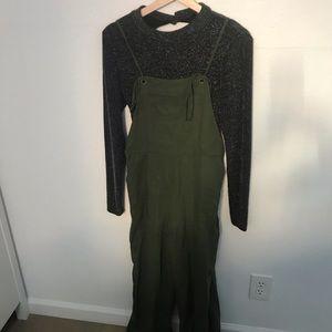 Olive linen overalls • forever 21